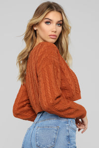 Let You Love Me Sweater - Cognac Angle 3