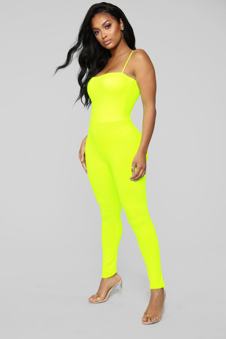 Switch Gears Jumpsuit - Neon Yellow