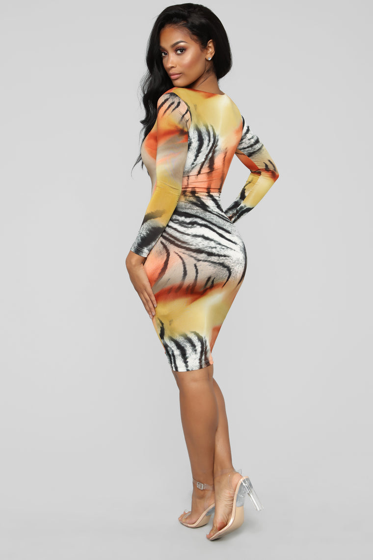 Unleash The Animal Midi Dress - Multi