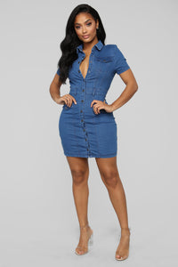 Ride Beside Denim Mini Dress - Medium Wash