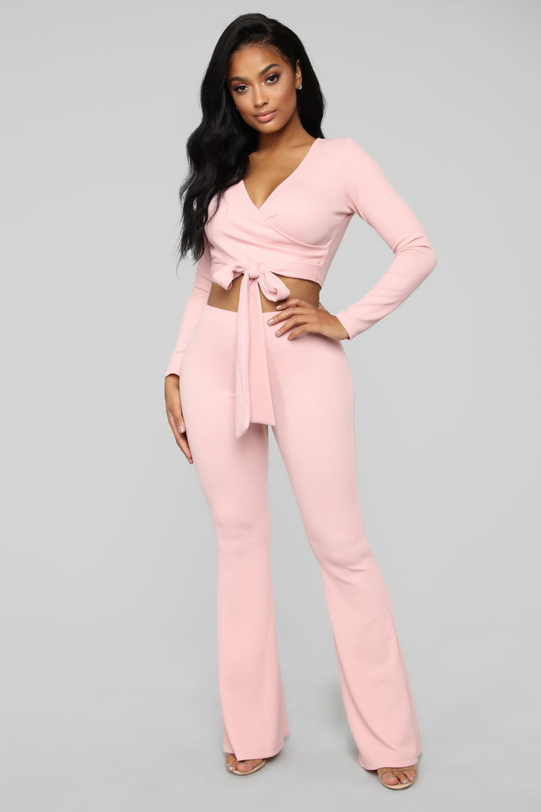 Pretty Tight Knit Ribbed Pant Set   Light Pink by Fashion Nova