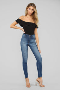 New Flow Off Shoulder Bodysuit - Black