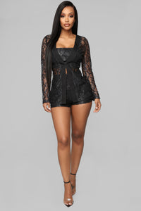Laced In Me Short Set - Black