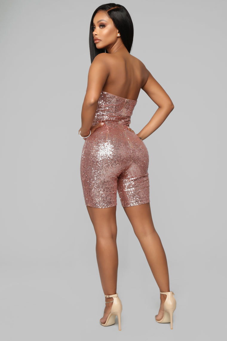 Light Em Up Sequin Romper - Rose Gold