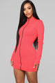 Not Going Under Zipper Front Mini Dress - Neon Pink