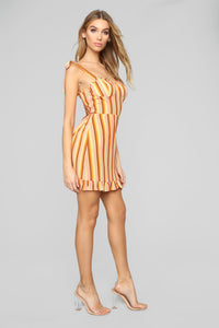 Girly Things Mini Dress - Orange/Multi