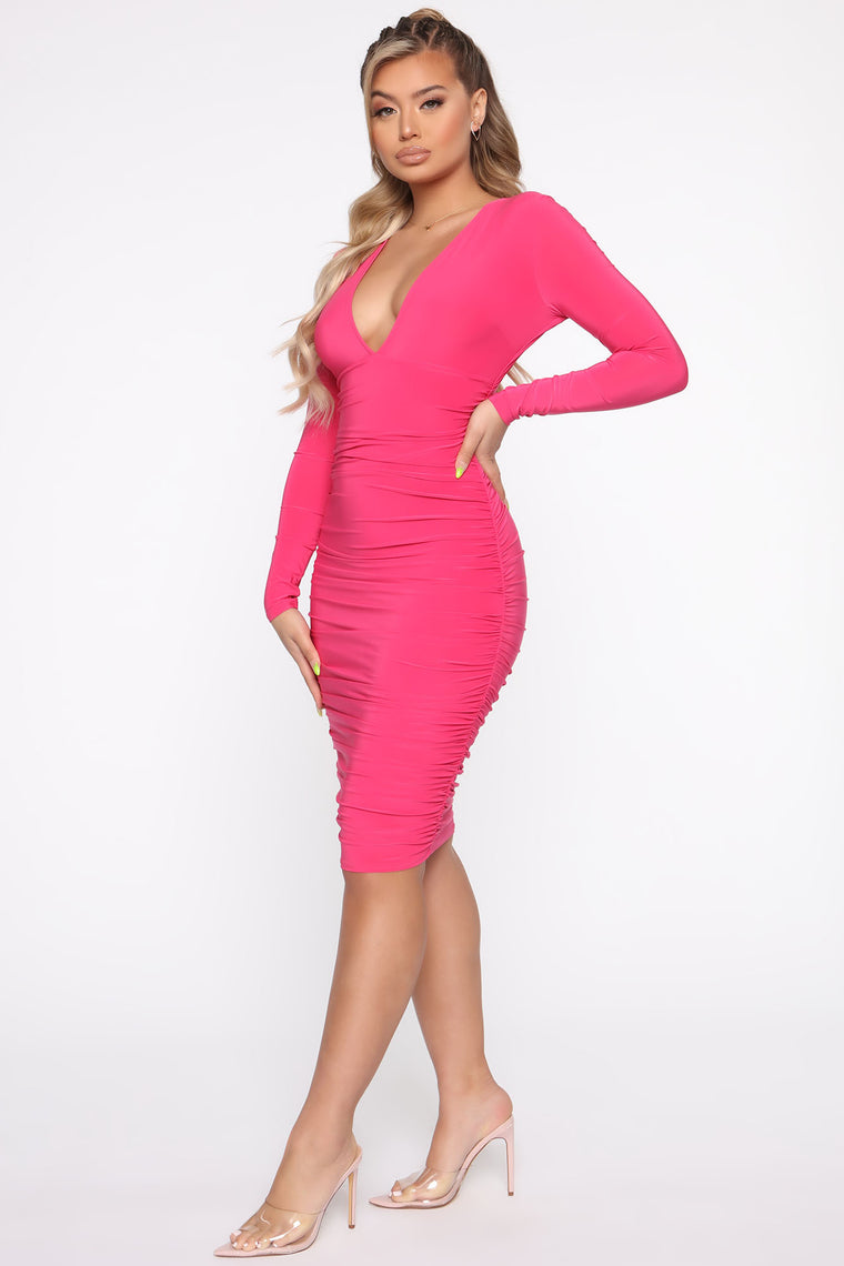 Turn It Up Midi Dress - Fuchsia
