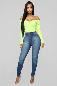 Stay Away Off Shoulder Top - Lime Angle 2