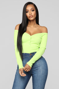 Stay Away Off Shoulder Top - Lime Angle 1
