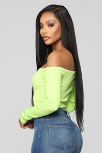 Stay Away Off Shoulder Top - Lime Angle 3