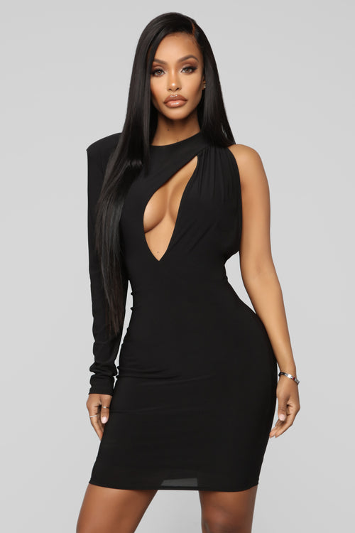 Cutting You Out One Shoulder Midi Dress - Black f7e88ebbaca