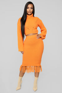 Warm Me Up Skirt Set - Orange Angle 1