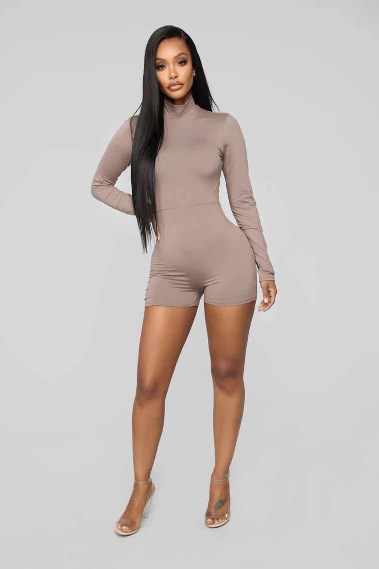 February Mock Neck Romper - Mocha