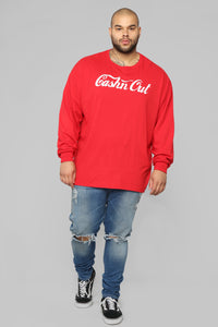 Cashin Out Long Sleeve Tee - Red/White