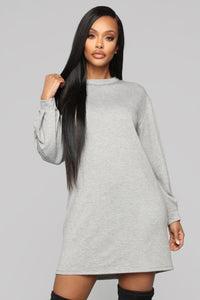 One Of Them Days Tunic Dress - Heather Grey