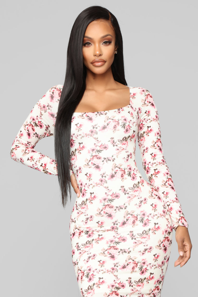 Just Want You Floral Mini Dress - Ivory/Pink