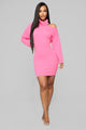 Keep My Face Warm Sweater Mini Dress - Bubble Gum Pink