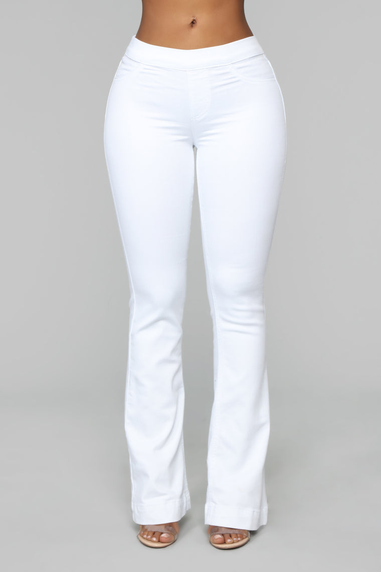 Say Something Mid Rise Flare Jeans - White