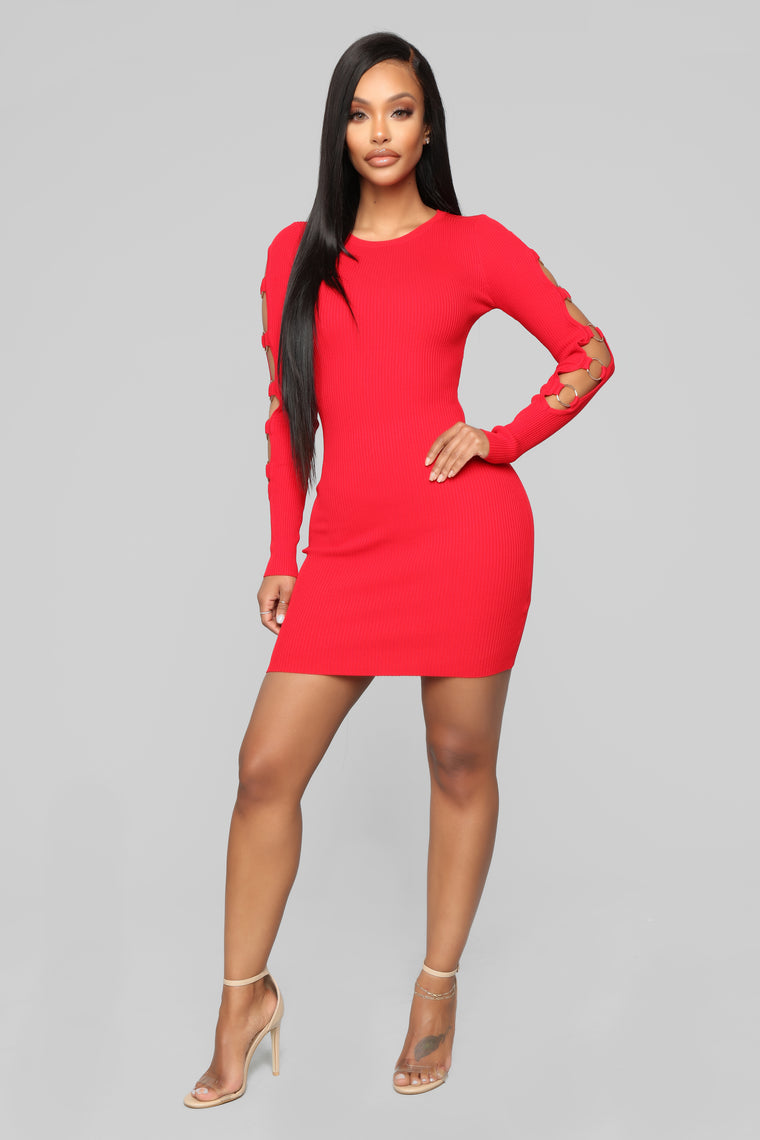 The Ring Leader Mini Sweater Dress - Red