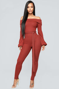 Cozy With You Jumpsuit - Brick Red Angle 1