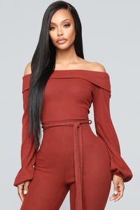 Cozy With You Jumpsuit - Brick Red Angle 2