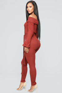 Cozy With You Jumpsuit - Brick Red Angle 3