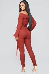 Cozy With You Jumpsuit - Brick Red Angle 4