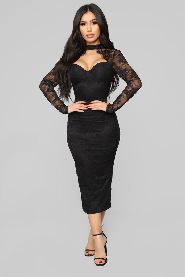 4671cb816ec Beautiful Dreams Lace Midi Dress - Black