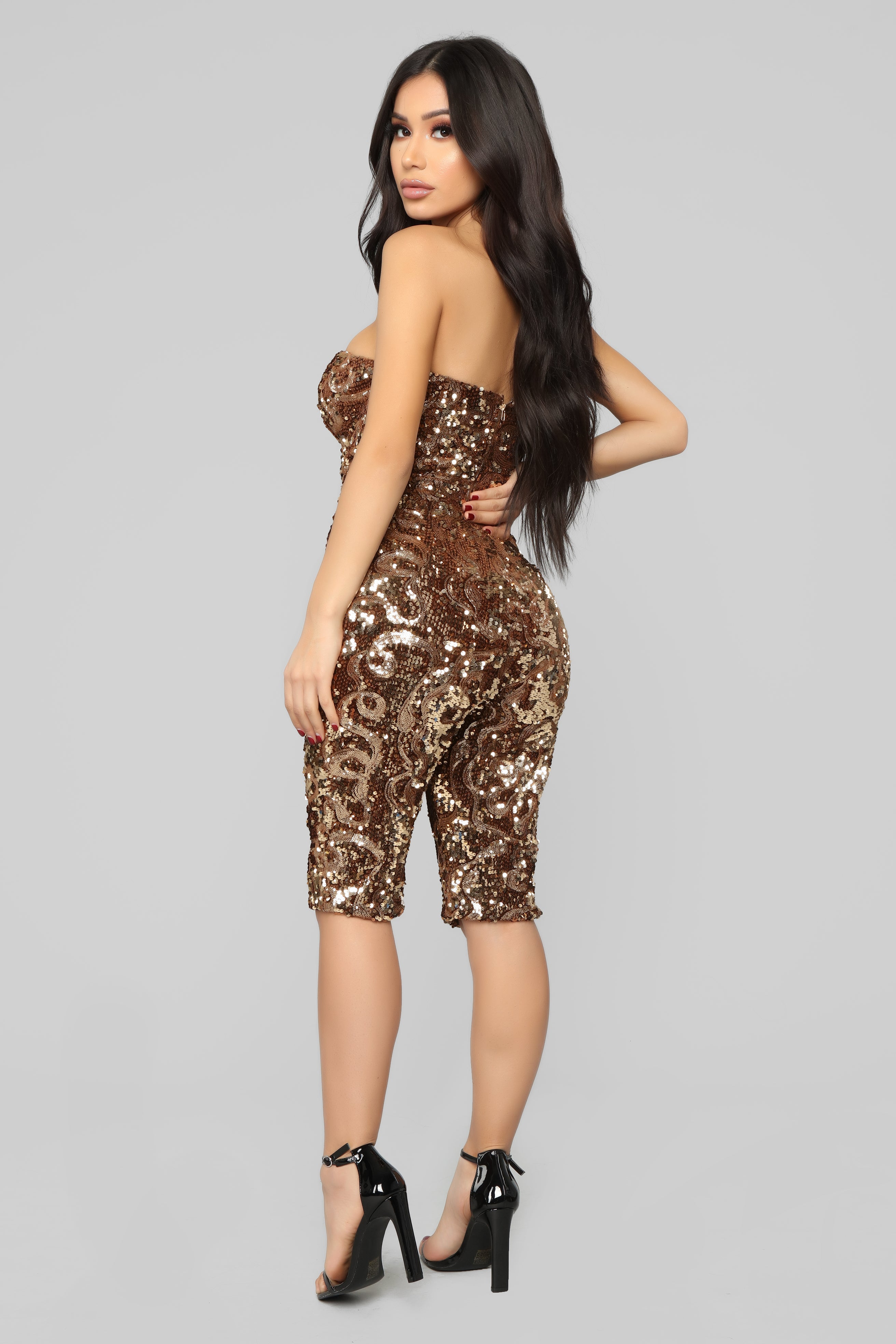 69abfb2b0665 Party Bash Sequin Romper - Gold