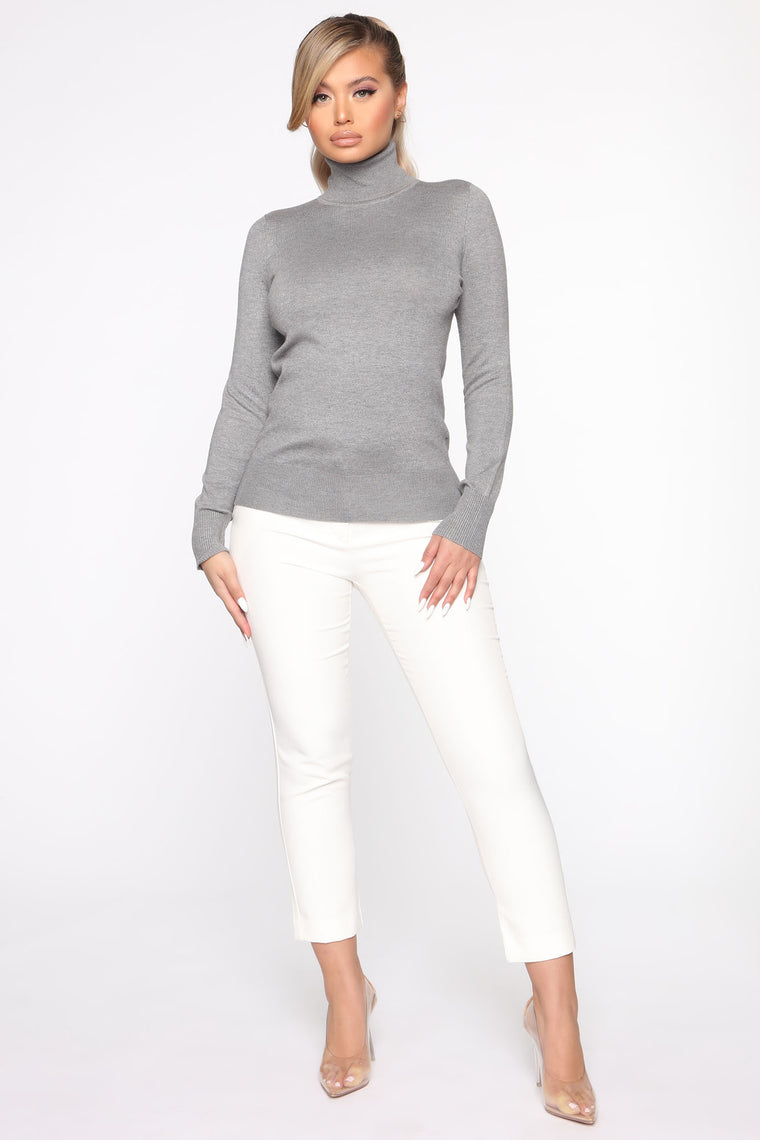 Kylie Ribbed Turtleneck Sweater - Heather Grey