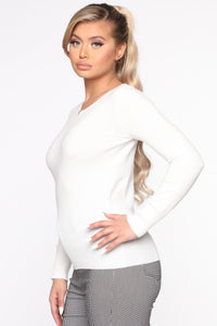 The Crew Neck Classic Sweater - White Angle 3