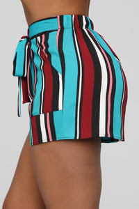 Malibu Lagoon Striped Shorts - MultiColor Angle 3