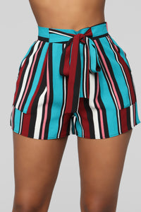 Malibu Lagoon Striped Shorts - MultiColor Angle 1