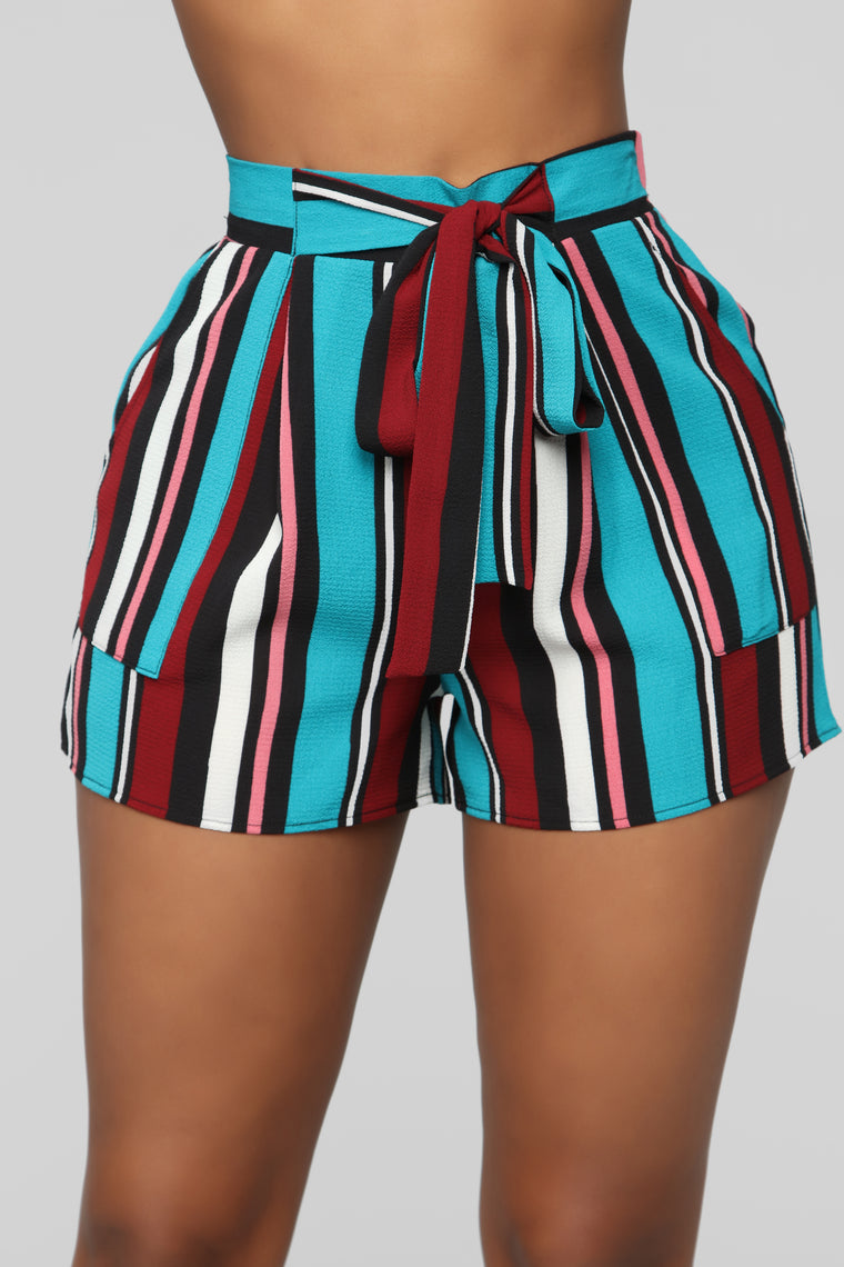 Malibu Lagoon Striped Shorts - MultiColor