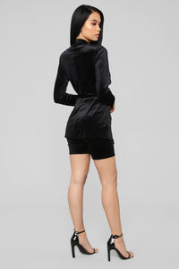 Vivian Velvet Biker Short Set - Black