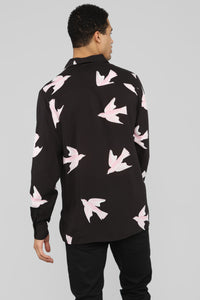 Doves In The Wind Long Sleeve Woven Top - Black Angle 5