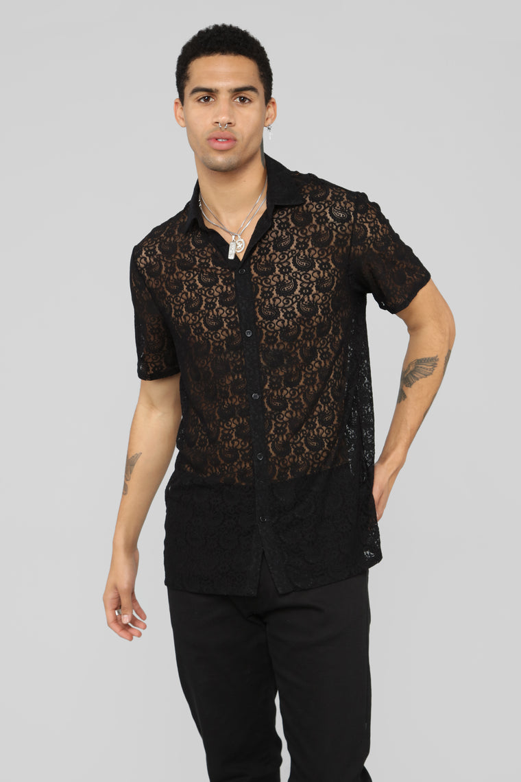 Lace You Down Short Sleeve Shirt - Black