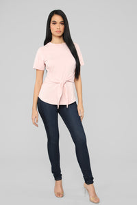 Can't Tie Me Down Tunic Top - Blush