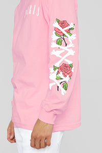Paris Long Sleeve Tee - Pink/Combo Angle 4