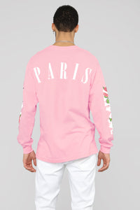 Paris Long Sleeve Tee - Pink/Combo Angle 2