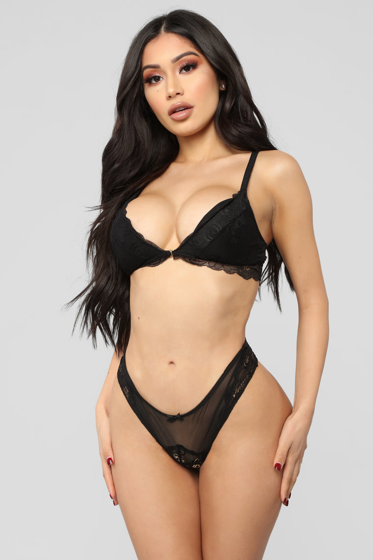 The Audrey Lace Tanga Panty - Black