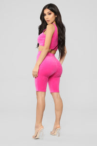 Sanasa Velour Short Set - Fuchsia