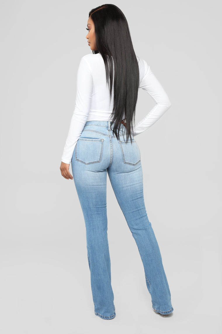 Gonna Throw Down Flare Jeans - Medium Blue Wash