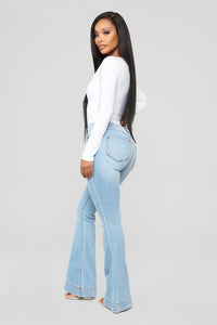 Push For It Flare Jeans - Light Blue Wash