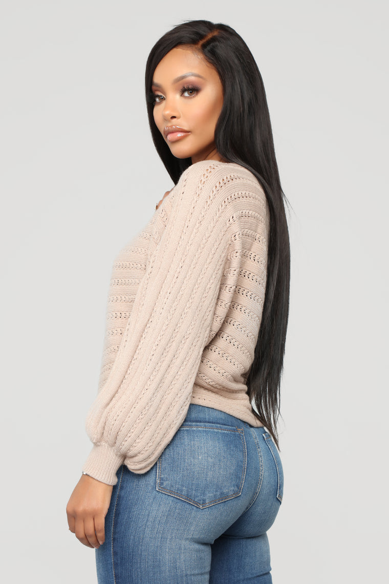 Chloe Off Shoulder Sweater - Taupe