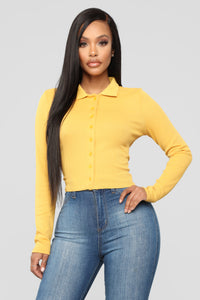 Forever Button Down Top - Mustard