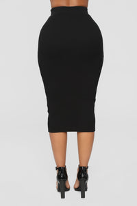 All Set Sweater Skirt Set - Black