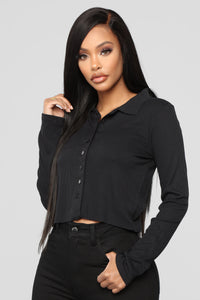 Forever Button Down Top - Black