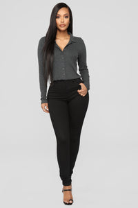 Forever Button Down Top - Charcoal