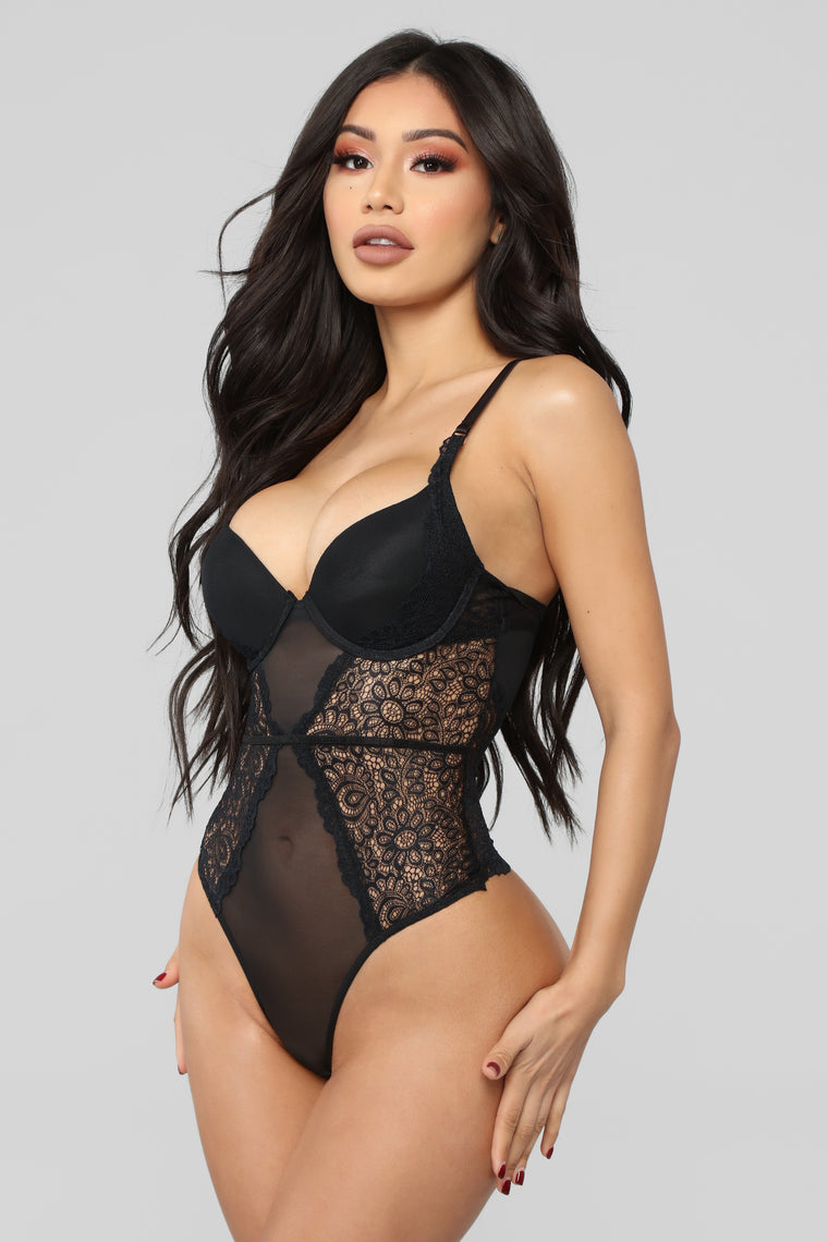 Push My Buttons Lace Teddy - Black